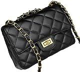 Covelin Women's Leather Fashion Handbag Quilting Envelope Cross Body Shoulder Bag Black