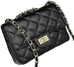 Covelin Women S Leather Fashion Handbag Quilting Envelope Cross Body Shoulder Bag Black