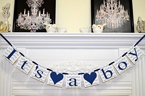 Superb Itu0027s A Boy Baby Shower Banner, Navy Blue And Gray Chevron Baby Shower  Banner,
