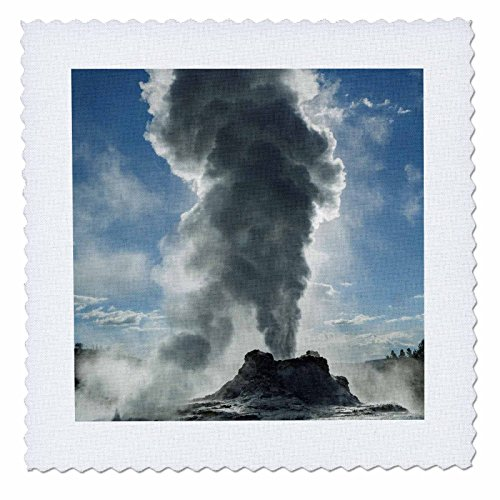 3dRose Danita Delimont - Geothermal - Castle Geyser erupting, Upper Geyser Basin, Yellowstone NP, Wyoming. - 12x12 inch quilt square (qs_260566_4) ()