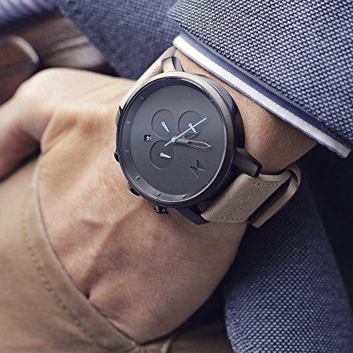 Reloj para Hombre Reloj cronógrafo MVMT Negro y Gris Oscuro Metal/Arena Gris Correa de Cuero MCCGML: Amazon.es: Relojes