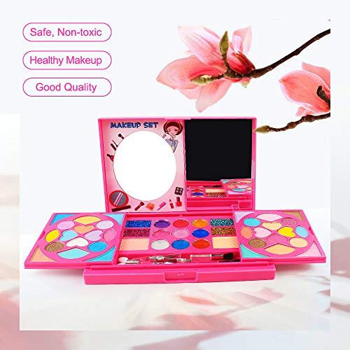 AMOSTING Real Makeup Toy For Girls Washable Cosmetic Set Pretend Play Gifts for Toddler Kids