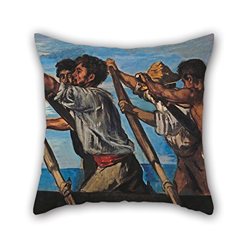 Zebra Needlepoint (The Oil Painting Hans Von Marées - Die Ruderer Pillow Shams Of ,16 X 16 Inches / 40 By 40 Cm Decoration,gift For Kids Boys,christmas,teens,bar Seat,girls,home (twin Sides))