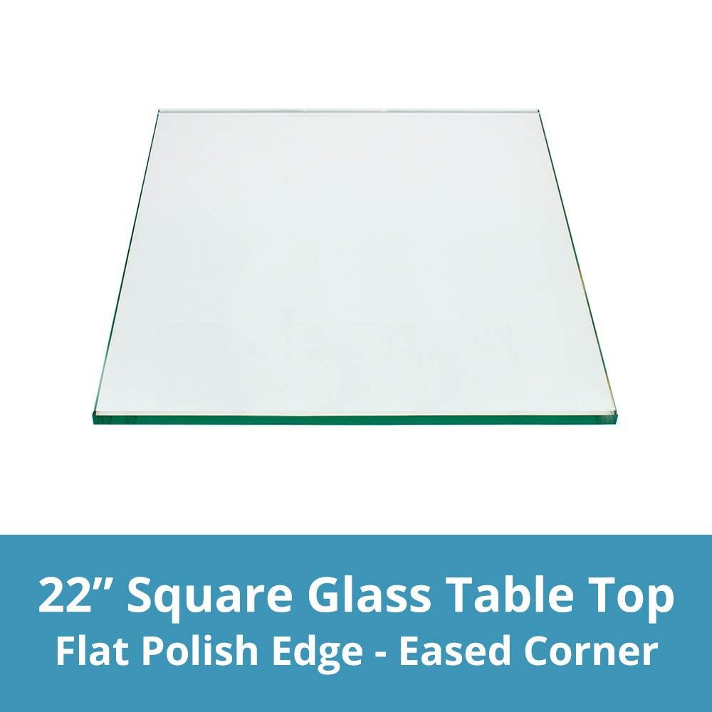 "Square Glass Table Top Custom Annealed Clear Tempered - 1/4"" Thick Glass with Flat Polished Edge For Dining Table, Coffee Table, Home & Office Use - 22"" Inch L by TroySys"