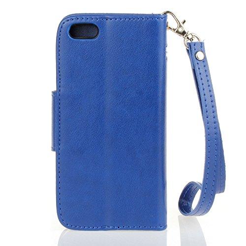 Für Apple iPhone 5 5G 5S / iPhone SE (4 Zoll) Tasche ZeWoo® PU Ledertasche Hülle Leder Schutzhülle Case Cover - HX005 / dunkelblau