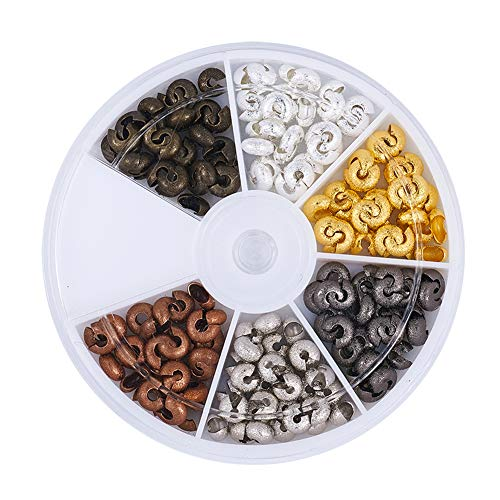 Pandahall 1Box/180pcs 6 Colors 6mm Brass Half Round Open Crimp Beads Covers Knot Covers Beads End Tips for Jewelry Makings Antique Bronze & Red Copper & Black & Silver & Golden & Platinum ()
