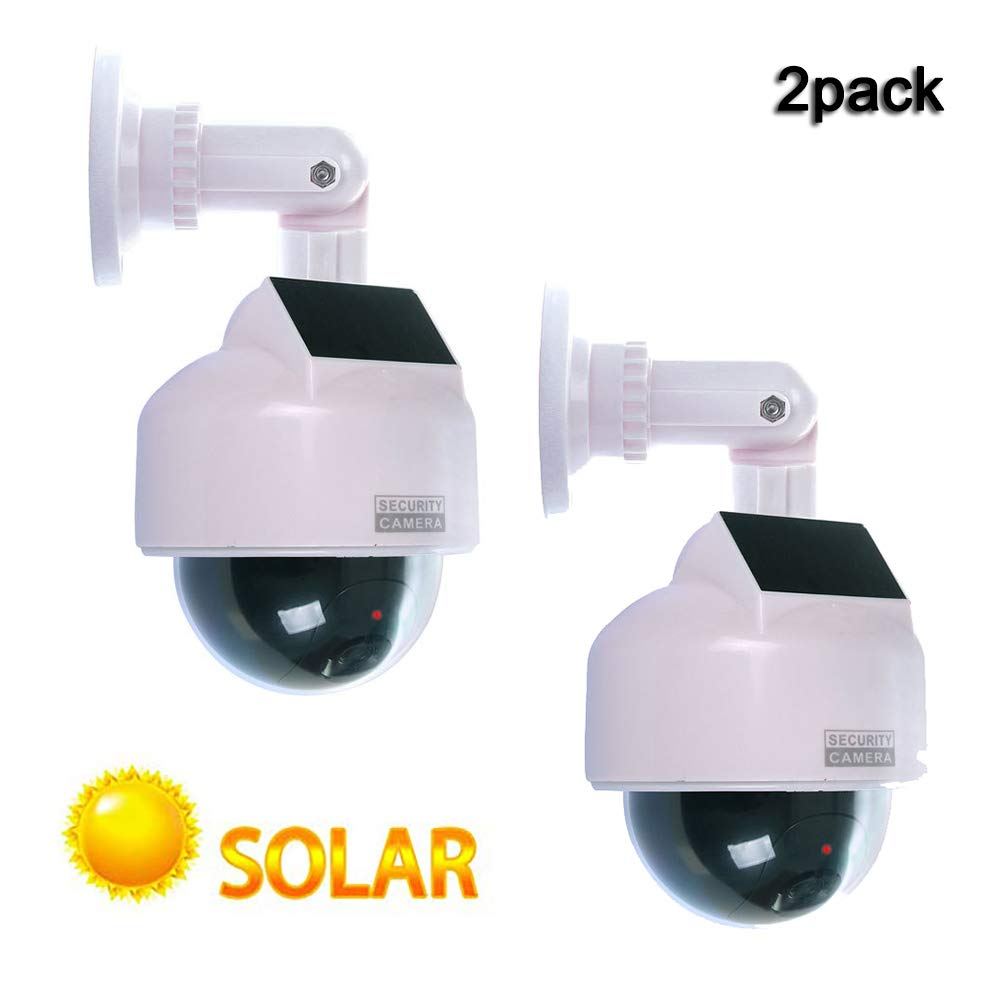 ALPEG Dummy Surveillance Camera,with Flashing Red LED Light,Solar Powered Dummy Fake CCTV Security Dome Camera,Indoor Outdoor Use,2pack