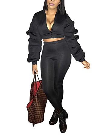 8e129273f7b2 Womens Ruffle Sleeve 2 Piece Outfit Zip Up Crop Top Jacket and Bodycon Long  Pants Set