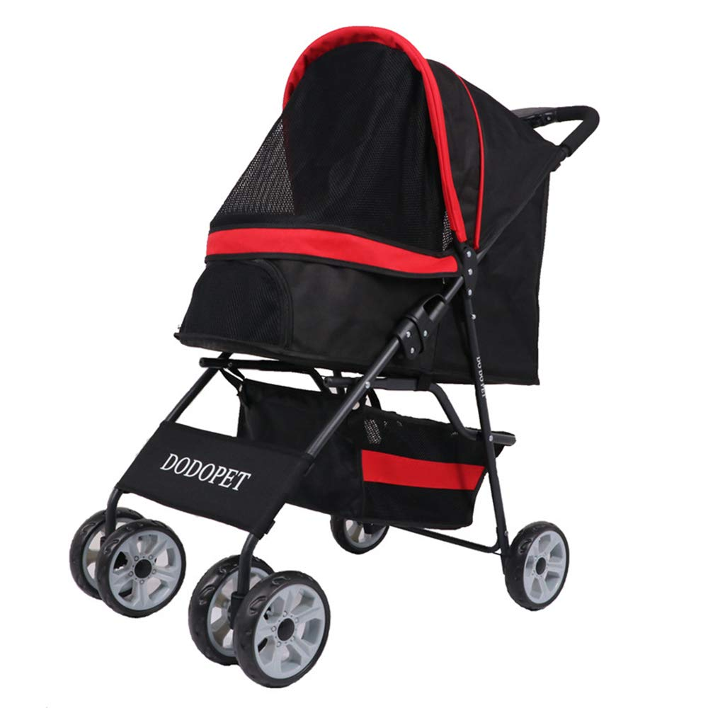 Admier Pet Stroller 3 Wheels One-Click Folding Cat Dog Cage Storage Basket Easy Walk Panoramic View Window Strong Stable Travel Carrier Black