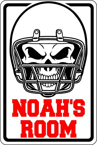 Yosign Personalized Customized Novelty Decorative Bedroom Dormitory Bar BBQ Office Kitchen Porch Fence Football Helmet Skull Aluminum Sign (12x18 in.)