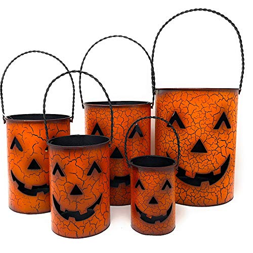 D.I. Inc. Halloween Lantern Rustic Candle Holder Metal Indoor Outdoor Decoration Jack-O'-Lantern Buckets Lamp Set of 5