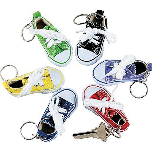 Lot of 12 Canvas Sneaker Tennis Shoe Chucks Keychain Party Favors (Sneaker Keychain)