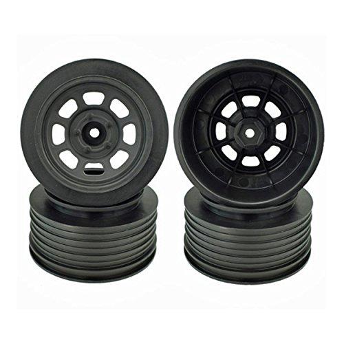 DE Racing Speedway SC Short Course Dirt Oval Wheels (Black) (4) (19mm Backspace) (Slash Front) w/12mm Hex