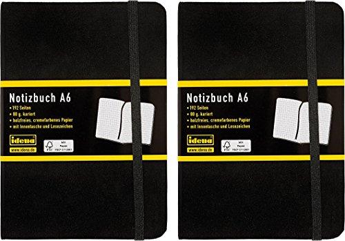 Idena 209282 Notizbuch FSC-Mix, A6, kariert, Papier cremefarben, 96 Blatt, 80 g/m², Hardcover in schwarz