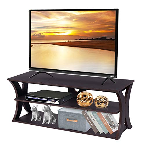 Tangkula TV Stand 3-Tire Universal TV Stand Storage Console with Storage Shelves for Home Office Sturdy & Stable Construction Display Cabinet TV Entertainment Center Console (Wood Top)