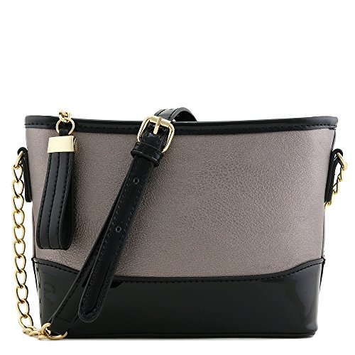 Chain Strap Shoulder Bag with Patent Leather Trim Contrast (Pewter) by FashionPuzzle
