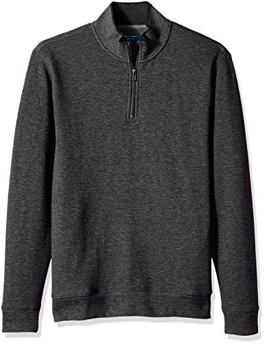 Cole Haan Men's Birdseye 1/4 Zip Knit Sweater, Caviar, L (Mens Sweater Knit)
