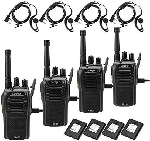 Caroger Rechargeable Walkie Talkies Business Two Way Radio Long Range FRS 462MHz 16 Channels Black 4 Packs