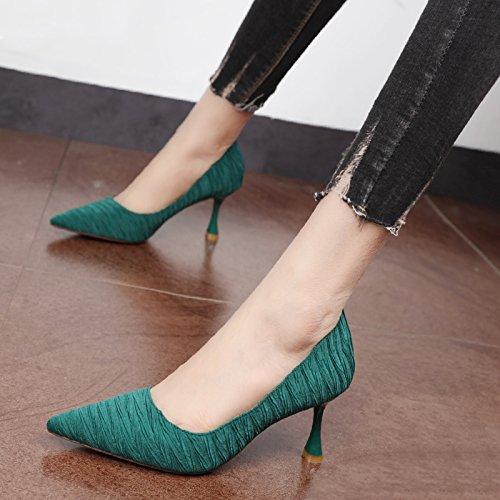 Xue Qiqi Qiqi Qiqi Court Schuhe Tipp des high-heel Schuhe fashion Schuhe mit hohen Absätzen flachen Mund weibliche Simple Grün set Foot einzelne Schuhe b6f1ee