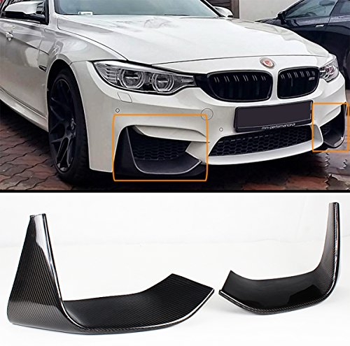 2 PCS ADD-ON CARBON FIBER FRONT BUMPER SPLITTERS LIP FOR 2015-2017 BMW F80 M3/ F82 F83 M4 (Carbon Front Fiber Splitter)