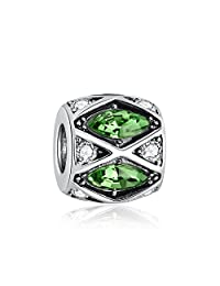 i'ange's 925 Sterling Silver Bead Charms with Green Crystal for Wife Mom Mother in Law Girlfriend Daughter, Charms for Bracelets Green Light