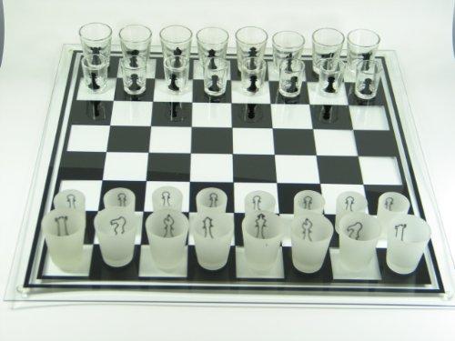 Schachbrett aus Glas Drinking Chess groß Schachspiel Geschenk