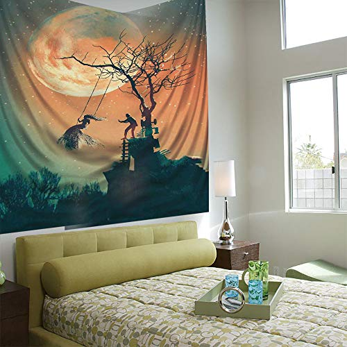 AngelSept Wall Tapestry Decorative Art Prints can be Hung on The Bedside of Dormitory,Fantasy World,Spooky Night Zombie Bride and Groom Lady on Swing Under Starry Sky Full Moon,Orange Teal (Best Tapestries On Society6)