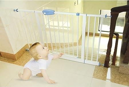Hfyg Barrera de Seguridad Barrera de Seguridad Interior Blanca, Fácil Cierre Extra Ancho Metal Puerta de Bebé Protector de Pared Puerta para Mascotas para Puertas de Escalera Puerta de Seguridad: Amazon.es: Hogar