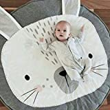 Lzttyee Cotton Baby Crawling Mats Game Blanket Floor Playmats Round Carpet with Cute Bunny Shape Kids' Room Decor (Grey)