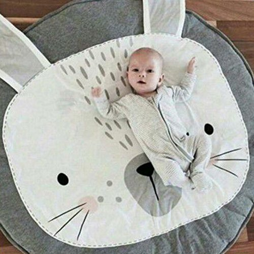 Lzttyee Cotton Baby Crawling Mats Game Blanket Floor Playmats Round Carpet with Cute Bunny Shape Kids' Room Decor (Grey) by Lzttyee