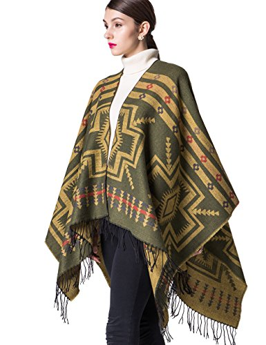 Womens Aztec Alpaca Cardigan Warm Sweater Blanket Pashmina Shawls and Wraps no Sleeve Cashmere Scarf Open Front Youth Poncho Cape Coat 6xl Green and Yellow
