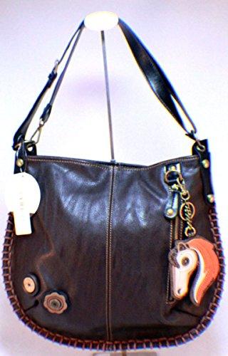 Chala HORSE Pleather Bag Large BROWN Tote Convertible Hobo Crossbody DARK rwqOXBPrW