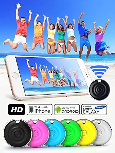 Premium HD Bluetooth Selfie Remote Control Camera Shutter for iPhone, Samsung Galaxy, Android, iPad, iPod, Tablets - Amazing Selfie Clicker for Photos, Videos, 30ft Range (Aqua)