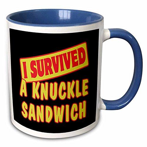 (3dRose 117628_6 Knuckle Sandwich Survival Pride and Humor Design Two Tone Blue Mug, 11 oz, White)