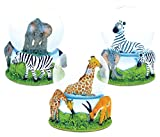 Puzzled Elephant, Giraffe, Zebra Snowglobes (65MM) Handcrafted Vibrant Wild Life Decor - Animal Theme - Assorted Design, Set of 3 - Item #K9475-9476-9485