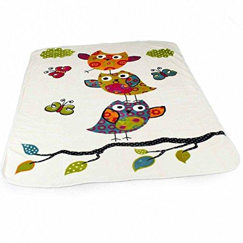 Decke Kinderdecken Niedliche Eulen Creme Bunt Kuscheldecke Spieldecke, Grösse:155x215 cm