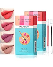 Blitzby 40 Pcs Tattoo Lipstick Cotton Swabs, 20 Pcs/Box - 2 Pack, Durable And Waterproof, Disposable Portable Lipstick, Long-lasting Lip Gloss Cotton Swabs Matte For Ladies (multicolor)