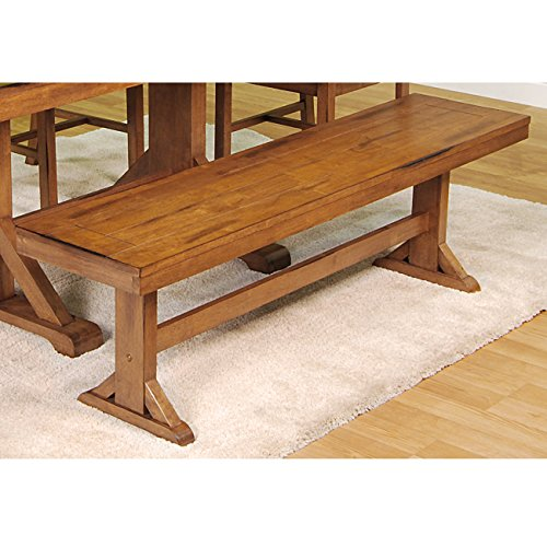 Solid Wood Dining Bench in Antique Brown Finish-5 Feet Wide, 18 Inches Tall