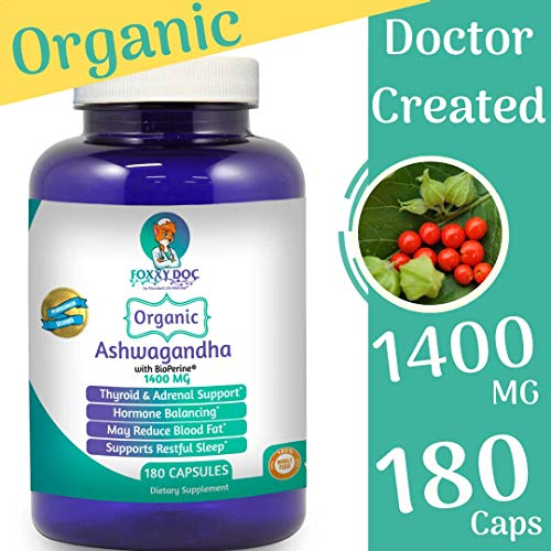 Organic Ashwagandha 180 Caps – 1400 MG – Thyroid Hormone Adrenal Support with BioPerine Pepper