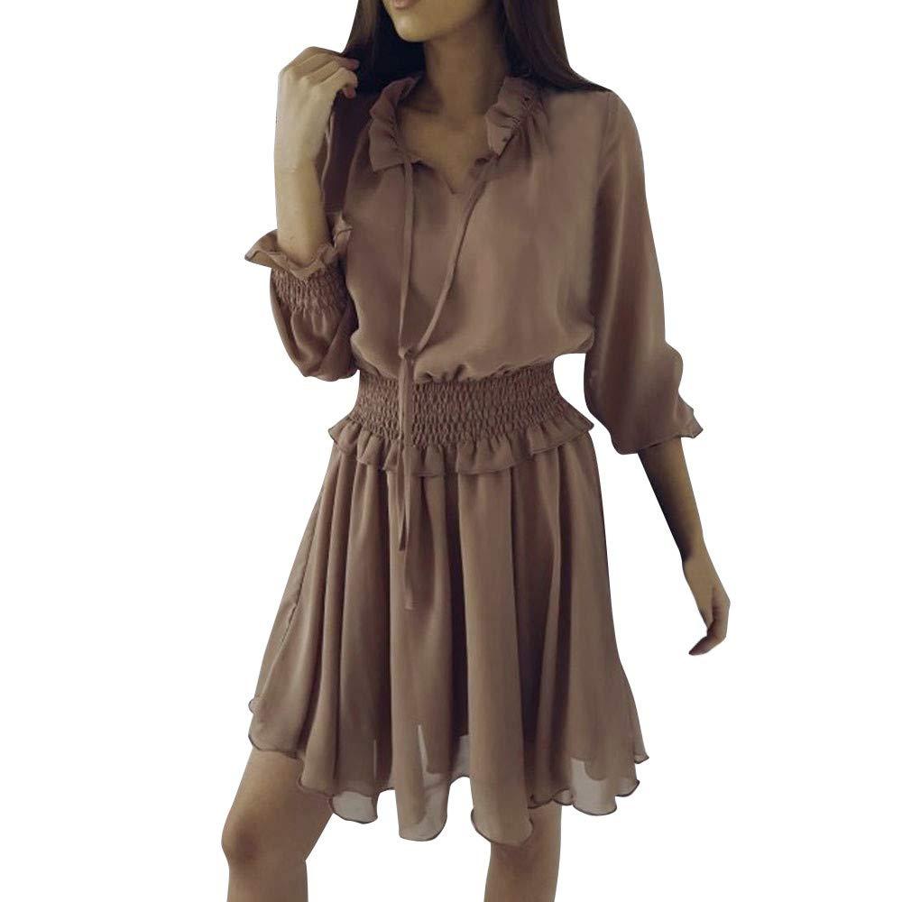 f319d952c53 Top13  vermers Clearance Deals Women Short Dresses - Women Casual V-Neck  Ruffle Frill Slim Waist Holiday Party Dresses