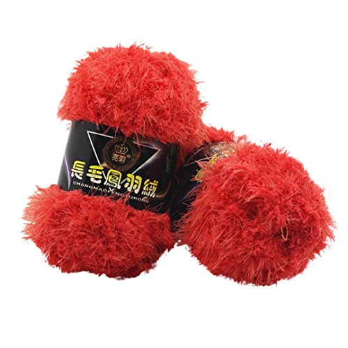 Fur Yarn, Sacow Fluffy Eyelash Knitting Yarn Multicolor Feather Down Hand-woven Yarn Velvet Crochet Coral Cashmere Yarn (F) (Yarn Knitting Velvet)