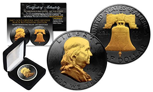 1963 BLACK RUTHENIUM Ben Franklin Half Dollar Coin w/ 24K GOLD features 2-Sided