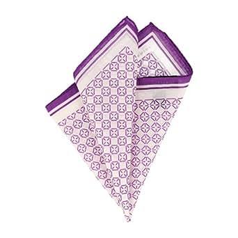 Baldessarini pañuelo Pochette blanco púrpura cuadrados