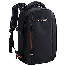 "K&F Concept DSLR/SLR Camera Backpack bag(Flash/Lens Kit/Laptop)Travel Backpack for Canon Nikon Sony Camera Small Size (13*9.8*5.5"")- Black"
