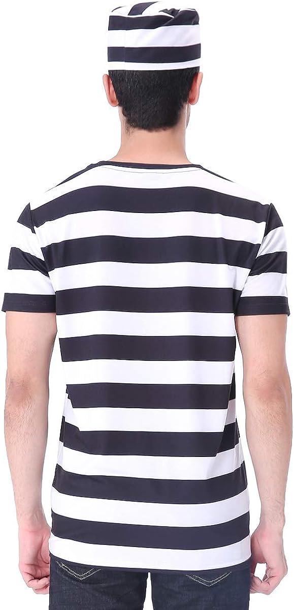 COSAVOROCK Maglietta del Costume da Carcerato Uomo con Cappello