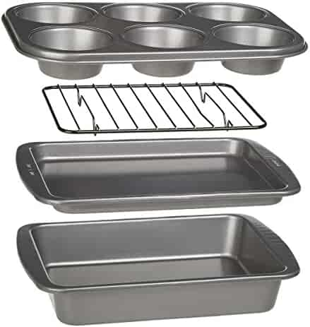 Ecolution Toaster Oven Bakeware 4-Piece Set | Nonstick Heavy Duty Carbon Steel