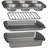 Ecolution Bakeins 4-Piece Toaster Oven Bakeware Set - PFOA, BPA, and PTFE Free Non-Stick Coating - Heavy Duty Carbon Steel