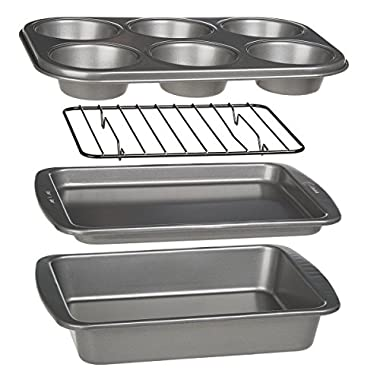 Ecolution Bakeins 4-Piece Toaster Oven Bakeware Set – PFOA, BPA, and PTFE Free Non-Stick Coating – Heavy Duty Carbon Steel
