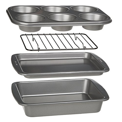 Ecolution Toaster Oven Bakeware 4-Piece Set | Nonstick Heavy Duty Carbon Steel (Round Rack Chefs Pot)