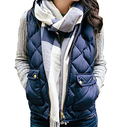 iQKA Women Lightweight Stand Collar Zip Up Quilted Gilet Puffer Padding Jacket Vest(Navy,Medium)